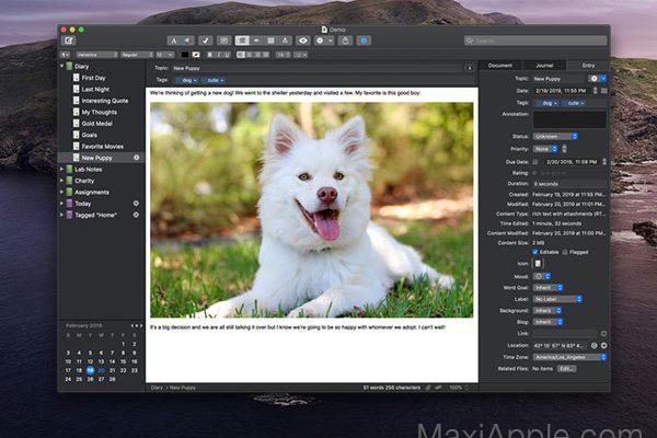 macjournal macos mac gratuit 1 600x400 - MacJournal 7 Mac - Meilleur Editeur de Journal Intime (gratuit)