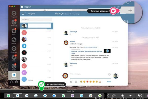 one chat all in one messenger macos mac 04 600x400 - One Chat Mac - Messagerie Universelle Multi-Services